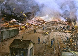 Pullman Strike 1894 Nfreight Cars Burning At The Illinois Central Railroad Yards In Kensington Near Chicago After Being Se...