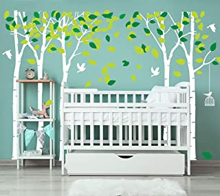 LUCKKYY Large Five Family Trees with Birds and Birdcage Tree Wall Decal Tree Wall Sticker Kids Room Nursery Bedroom Living Room Decoration (103.9x70.9) (White)