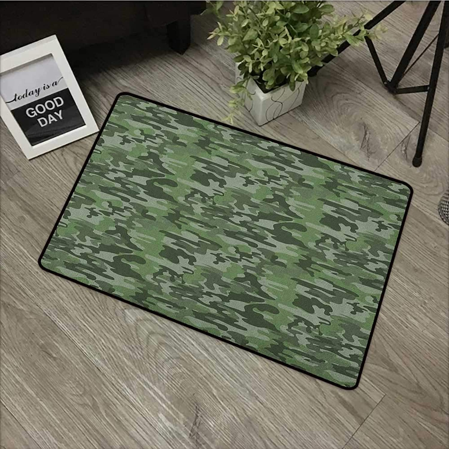 Bathroom Door mat W35 x L59 INCH Forest Green,Abstract Pattern in Green Shades Camouflage Classical Uniform Illustration, Multicolor Easy to Clean, Easy to fold,Non-Slip Door Mat Carpet