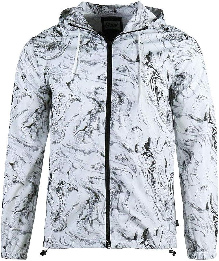 Beautiful Giant Men's Windbreaker Jacket Lightweight Zip-up Drawstring Hooded Coat