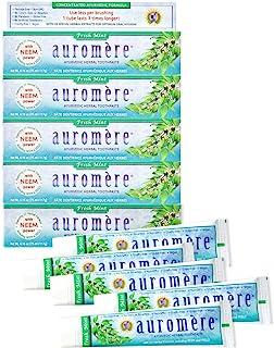 Auromere Ayurvedic Herbal Toothpaste, Fresh Mint - Vegan, Natural, Non GMO, Flouride Free, Gluten Free, with Neem & Peelu (4.16 oz), 5 Pack