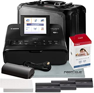 Canon SELPHY CP1300 Compact Photo Printer (Black) with WiFi and Accessory Bundle w/Canon Color Ink and Paper Set + Case + Battery + More