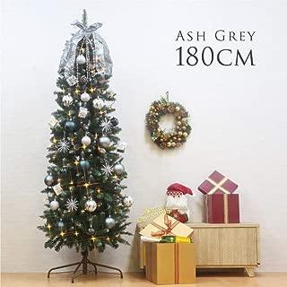 クリスマスツリー 180cm おしゃれ ドイツトウヒツリー ASHGRAY オーナメント セット LED