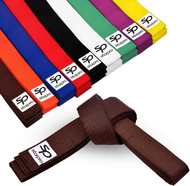 7 Stitch Cotton 240cm 280cm 320cm 9 Colours Starpro Martial Arts Belt Lightweight Design for Karate Judo Taekwondo Training and Competition
