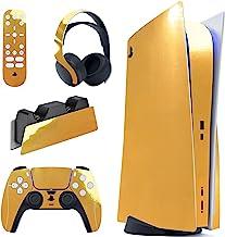 PlayVital Adesivo dourado cromado brilhante conjunto completo para PS5 Console Disc Edition, adesivo para PS5 Vinyl Decal ...