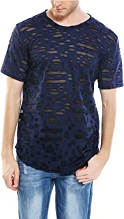 Men's Causal Hipster Hip Hop Distressed Ripped Round Hole Short Sleeve T Shirt