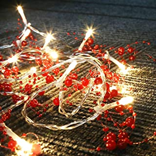 Leideur String Lights Red Berry Garland Lighted Berry-Beaded Garland Battery Operated 3 Modes 20 LED Holiday Indoor Christmas Decorations Lights 9.8ft(Light Color:Warm White) (Red)
