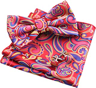 Alizeal Mens Paisley Bow Tie, Pocket Square, Cufflinks Set