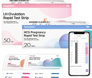 Femometer 50 Ovulation Test Strips and 20 Pregnancy Test Strips Combo kit, Sensitive Fertility Predictor Testing Kits, Accurate Automatically Recognizing Test Results with App,70 PCS