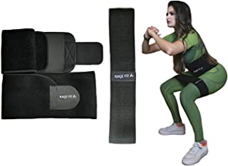Waist Trimmer Belt & Resistance Band - Unisex, Promotes SWEAT/WEIGHT LOSS, Provides BACK SUPPORT during Glute/Legs Building - Squats, Hip Thrusts, Non-slip, Thick, Elastic, Fitness, FREE User Manual