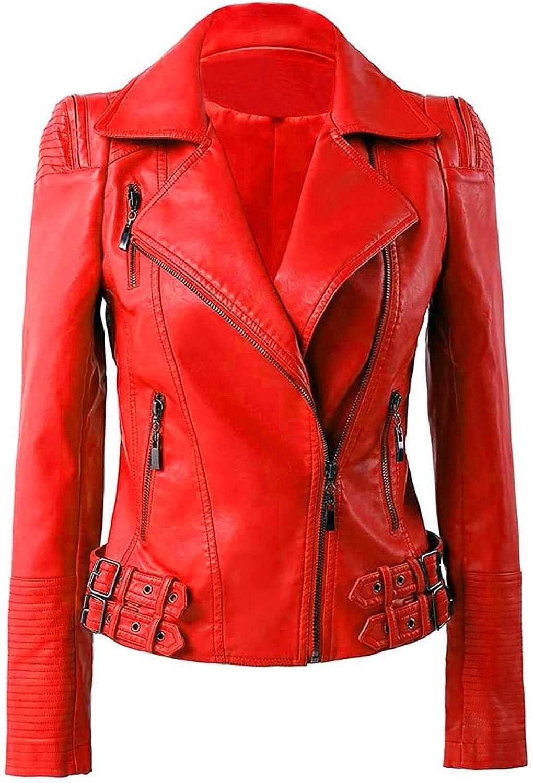 VearFit Womens Biker Missy Regular Max 73% OFF Red Black Tan Real Store Lambskin