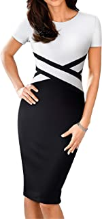 HOMEYEE Women's 3/4 Sleeve Colorblock Sheath Pencil Church Dress B463
