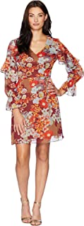 Womens Floral Print Metallic Stripe Chiffon Ruffle Sleeve Dress