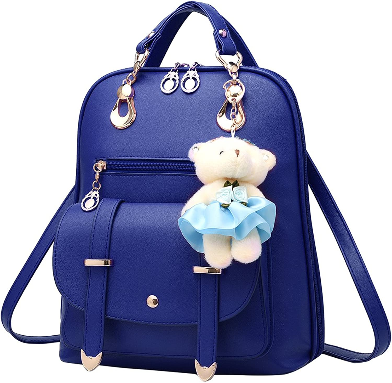 CYNDIE Women's Casual Backpack Concise Preppy Style PU Leather Shoulder Bag with Bear Pendant
