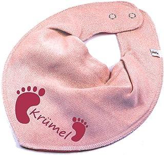 Elefantasie Elefantasie HALSTUCH Füßchen mit Namen oder Text personalisiert rosa für Baby oder Kind