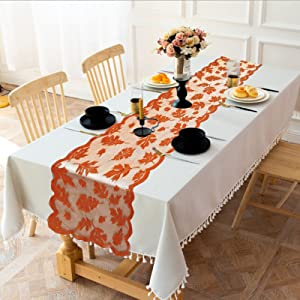 2 Pack Fall Decor Thanksgiving Table Runner Maple Leaves Table Runner Fall Decorations for Home Thanksgiving Dinner Party and Daily Pumpkin Autumn Harvest Runner Indoor Outdoor Decor(13x72 Inch)