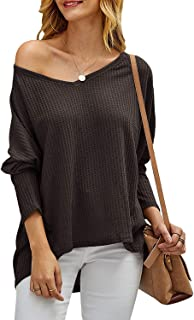 Chuanqi Womens Oversized Sweaters Casual Loose V Neck Batwing Sleeve Waffle Knit Pullover Baggy Blouse Tops