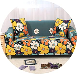 Stretch Fabric Flower Printing Sofa Cover All-Inclusive Couch Cover Sofa Towel Loveseat Armchairs Protector Furniture cubre Sofa,Color 5,Cushion Cover 2pcs