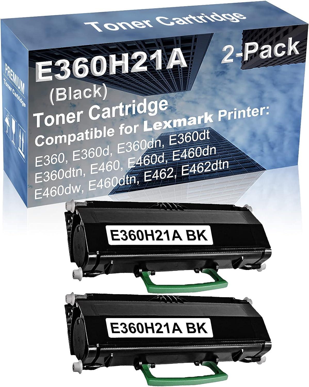 2-Pack Compatible High Capacity E460dw, E460dtn, E462, E462dtn Printer Toner Cartridge Replacement for Lexmark E360H21A Printer Cartridge (Black)