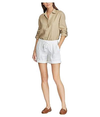 LAUREN Ralph Lauren Linen Drawcord Shorts (White) Women