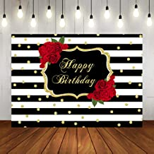 Happy Birthday Backdrop Red Rose Party Background Black and 7x5ft Vinyl White Stripes Dots Decorations for Adult Women Birthday Banner Photo Booth Props