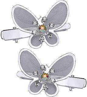 tumundo 2 Stück Haarnadeln Haarspangen Set Strass Glitzer Haarschmuck Schleife Schmetterling Hochzeit Braut Anstecker