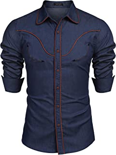 COOFANDY Men's Long Sleeve Western Cowboy Shirts Embroidery Casual Button Down Shirt