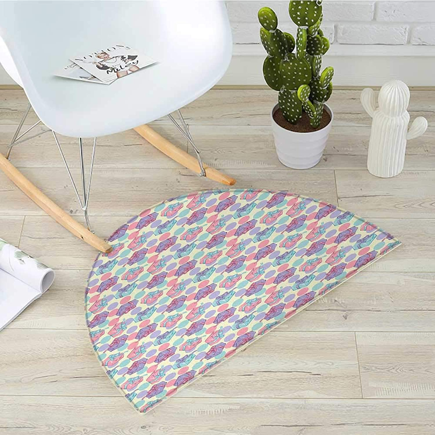 Birthday Half Round Door mats Pastel colord Big Dots and Present Boxes with Bowknots Happy Celebration Theme Bathroom Mat H 35.4  xD 53.1  Multicolor