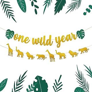 Golden Glitter Animal Banner Jungle Wild Party Supplies Banners Giraffe Elephant Lion Tiger Safari Theme Party Decorations...