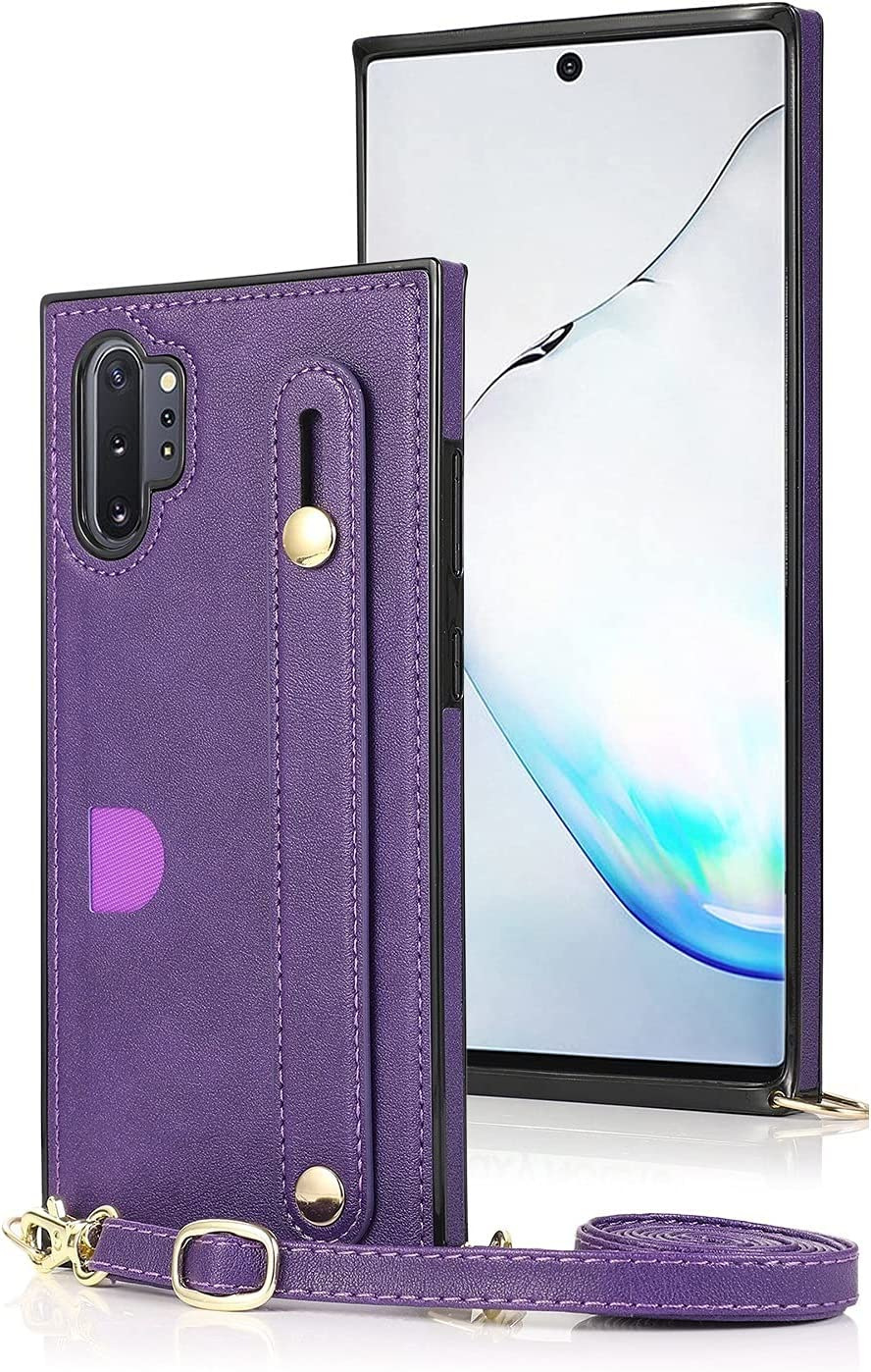 Case for Samsung Galaxy Note 10 Pro, Leather Case with Credit Card Slot Non-Slip Buckle Holder/Crossbody Long Lanyard, Shockproof Leather TPU Case Cover for Galaxy Note 10 Pro (Color : Purple)