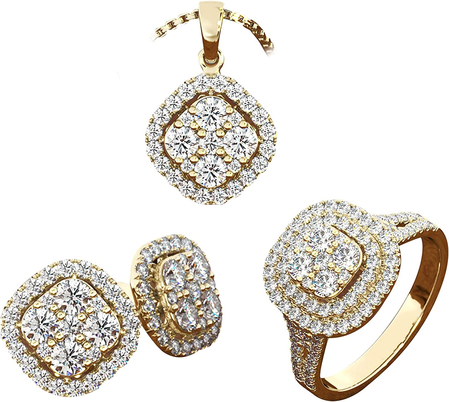 3 PCS Diamond Jewelry Set For Women Ring & Necklace & 1 Pair Earrings Engagement Rings Anniversary Day Gift For Girlfriend Mom Bridal Wife