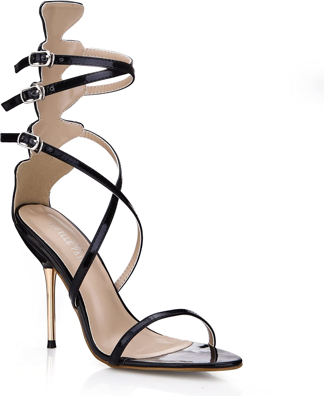 Dolphin Women Black Open Toe High Heel Sandals with Ankle Strap Party shoes Carpet Dress Pump SM000029