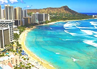 絵画風 壁紙ポスター (はがせるシール式) ハワイ ワイキキビーチ オアフ島 ダイヤモンドヘッド リゾート 海 キャラクロ HWI-020A2 (A2版 594mm×420mm) 建築用壁紙+耐候性塗料