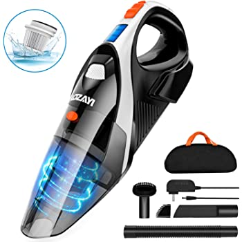 Handheld Vacuum, LOZAYI 7KPA Cordless Vacuum Cleaner Rechargeable Hand Vac, LED Light 100W Stronger Cyclonic Suction Lightweight Wet/Dry Handheld Vacuum Cleaner for Home Pet Hair Car Cleaning-Orange