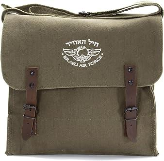 Israeli Air Force Army Heavyweight Canvas Messenger Shoulder Bag Olive /& Black