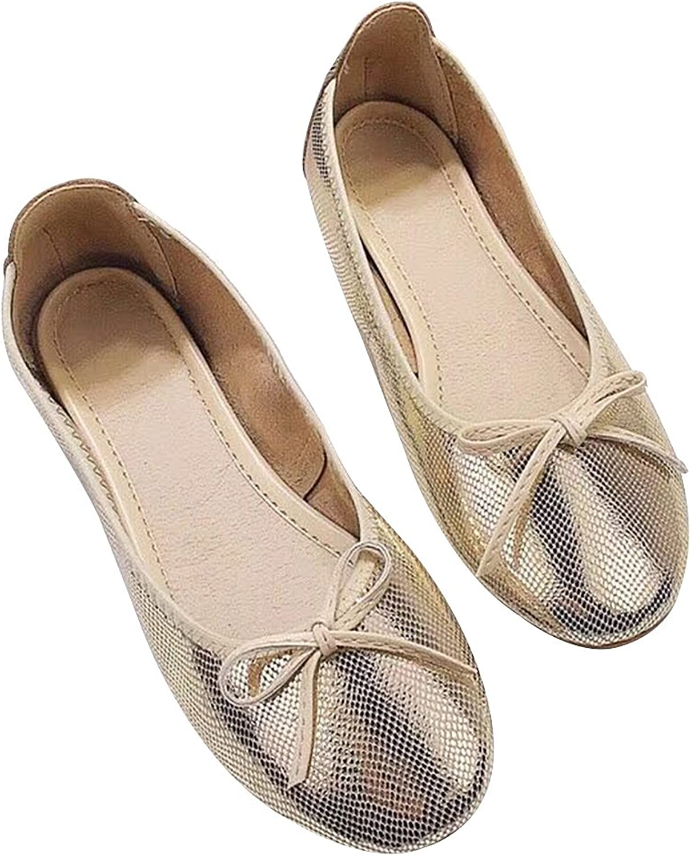 Rismart Women's Slip On Foldable Portable Ballerina Bowknot Leather Comfortable Walking Ballet Flats