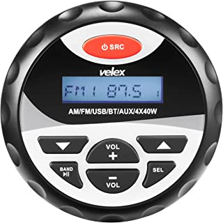 velex Marine Stereo, in-Dash, Marine Gauge, Bluetooth, Digital Media MP3 / WMA/USB/AM/FM Weather-Proof Marine Stereo, (No CD Player)