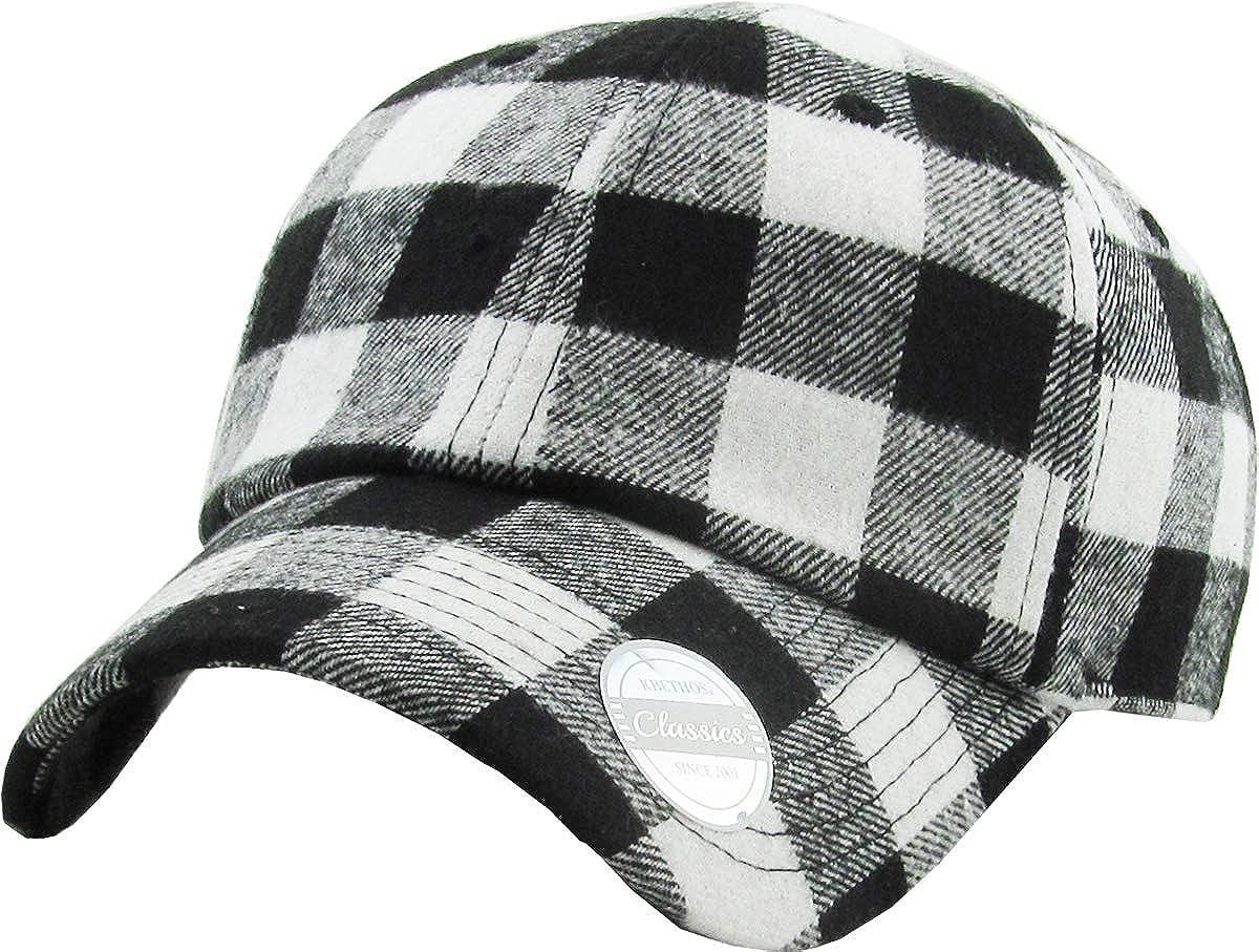 KBETHOS Casual Lumberjack Plaid Suede Corduroy PU Melange Cap Dad Hat 6 Panel Baseball Classic Adjustable Soft