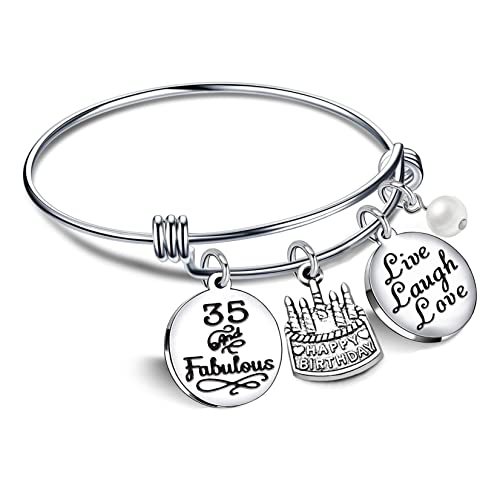 Lauhonmin Birthday Gifts For Her Bangle Bracelets Live Laugh Love 13th 18th 21st 30th 40th