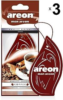 AREON Mon Auto Lufterfrischer Kaffee Duft Autoduft Hängend Aufhängen Anhänger Spiegel Braun Pappe 2D Wohnung (Coffee Set Pack x 3)