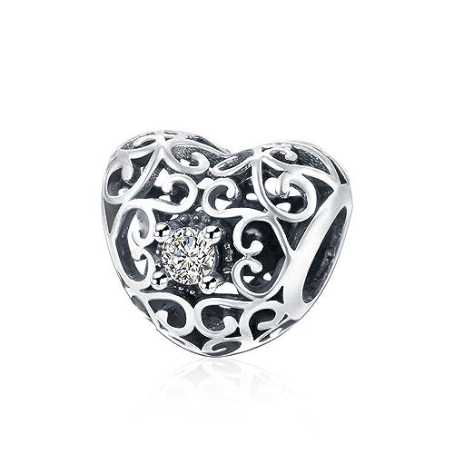2c1271737505 HMILYDYK Sterling Silver Heart Crystal CZ Charm with Swarovski Elements  Bead fit Pandora Charms Bracelets