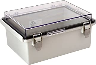 BUD Industries PTQ-11048-C Pc Hinged Enclosure – Electrical Enclosure with 10 Percent Fiberglass, Grey Clear Cover Ip67 for Electrical Applications. Metal Enclosures