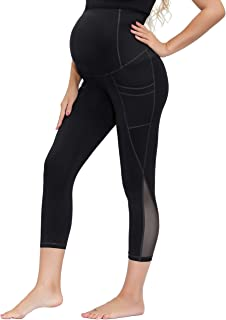 Women Maternity Over The Belly Active Lounge Mesh Capri Yoga Pants