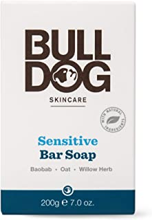 Bulldog Mens Skincare and Grooming Sensitive Skin, Fragrance-Free Moisturizing Bar Soap, 7 ounce
