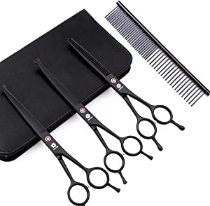 Dream Reach Professional Pet 7.0 Inches Cat Dog Grooming Shears Scissors, Straight, Curved, Thinning/Blending/Chunking Scissors Kit