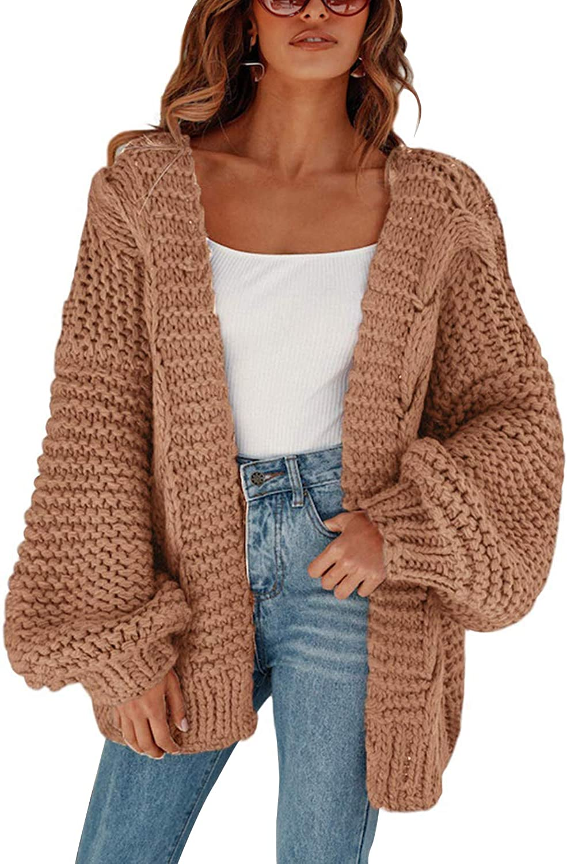 MEROKEETY Womens Open Front Cardigans Long Sleeve OversizedChunky Cable Knit Sweater Outwear Coat