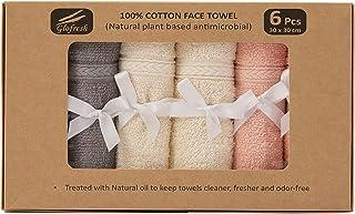 Glofresh Anti Microbial 100% Cotton Face Towels 6pcs Set - Size 30 x 30 cm - Multi Colors
