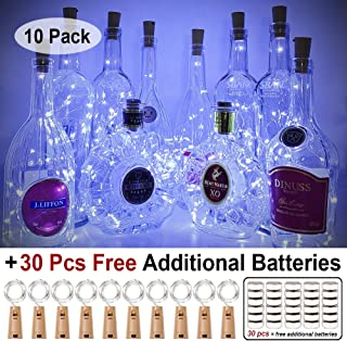 MUMUXI 10 Pack 20 LED Wine Bottle Lights with Cork, 3.3ft Silver Wire Cork Lights Battery Operated Fairy Mini String Lights For Liquor Bottles Crafts Party Wedding Halloween Christmas Decor,Cool White