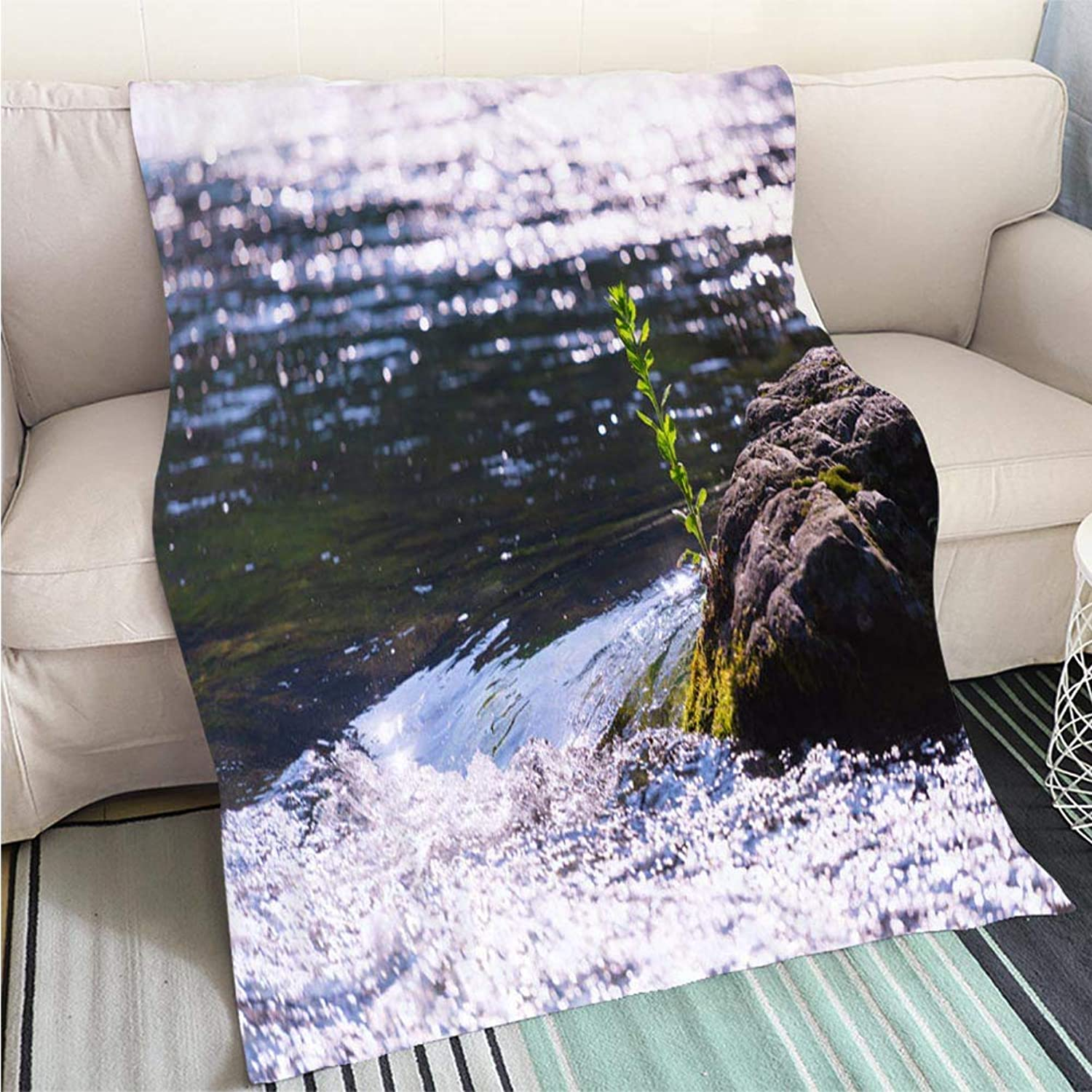 Breathable Flannel Warm Weighted Blanket Tama River in Hatonosu Valley Okutama Tokyo Japan Perfect for Couch Sofa or Bed Cool Quilt