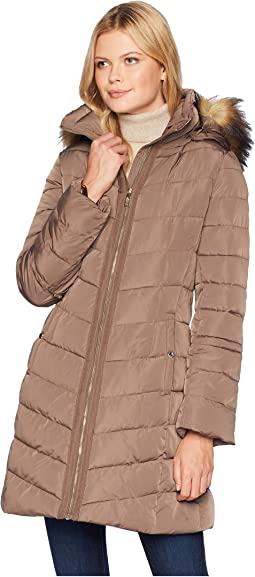 Puffer Jacket with Detachable Fur Hood and Cinched Sleeve Detail